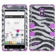 Insten® Diamante TUFF Hybrid Phone Protector Case For LG P769; Zebra/Electric Purple