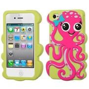 Insten® Pastel Skin Case F/iPhone 4/4S, Hot-Pink/Green Grass Octopus