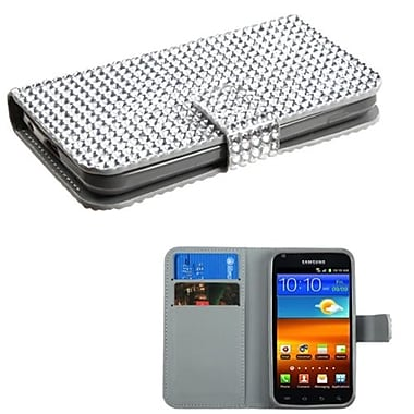 Insten® Diamonds Book-Style MyJacket Wallet For Samsung D710, R760, Galaxy S II S2 4G, Silver