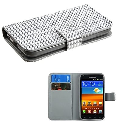 Insten® Diamonds Book-Style MyJacket Wallet For Samsung D710; R760, Galaxy S II S2 4G, Silver