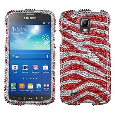 Insten® Diamante Protector Case For Samsung i537 (Galaxy S4 Active), Zebra (Silver/Red)