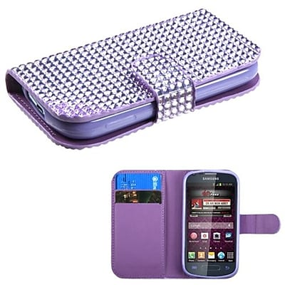 Insten® Diamonds Book-Style MyJacket Wallet For Samsung M840; Purple