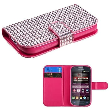 Insten® Diamonds Book-Style MyJacket Wallet For Samsung M840, Pink