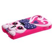 Insten® Pastel Skin Case F/iPhone 4/4S, Dark Purple/Hot-Pink Rabbit