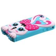 Insten® Pastel Skin Case F/iPhone 4/4S, Hot-Pink/Baby Blue Rabbit