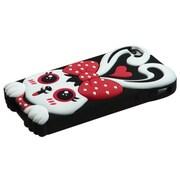 Insten® Pastel Skin Case F/iPhone 4/4S, Red/Black Rabbit