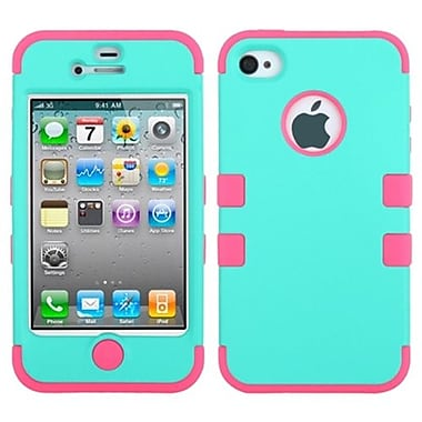 Insten® TUFF Hybrid Rubberized Phone Protector Cover F/iPhone 4/4S, Teal Green/Electric Pink