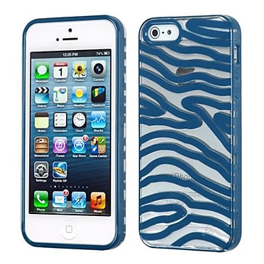 Insten Gummy Cover For iPhone 5/5S, Transparent Clear/Dark Blue Zebra Skin (1467331)