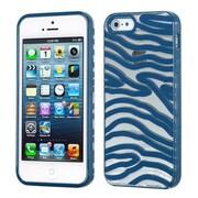 Insten® Gummy Cover F/iPhone 5/5S, Transparent Clear/Dark Blue Zebra Skin