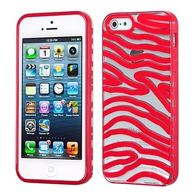 Insten Gummy Cover For iPhone 5/5S, Transparent Clear/Solid Red Zebra Skin (1467334)