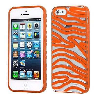 Insten® Gummy Cover F/iPhone 5/5S, Transparent Clear/Solid Orange Zebra Skin