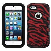 Insten® TUFF eNUFF Hybrid Phone Protector Cover F/iPhone 5/5S, Natural Black/Red/Zebra Skin