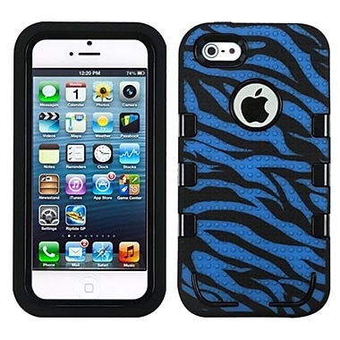 Insten® TUFF eNUFF Hybrid Phone Protector Cover F/iPhone 5/5S, Natural Black/Blue/Zebra Skin