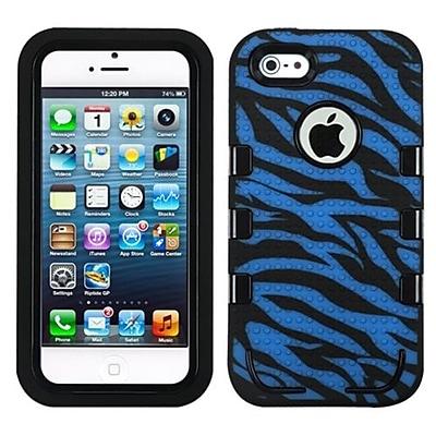Insten® TUFF eNUFF Hybrid Phone Protector Cover F/iPhone 5/5S, Natural Black/Blue/Zebra Skin