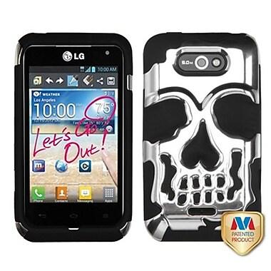 Insten® Hybrid Protector Case For LG MS770/LW770, Silver Plating/Black Skullcap