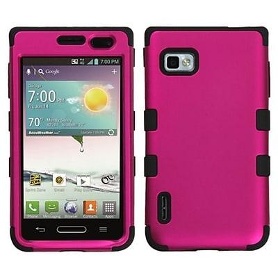 Insten® TUFF Hybrid Phone Protector Case For LG VM720/LS720/MS659, Titanium Solid Hot-Pink/Black