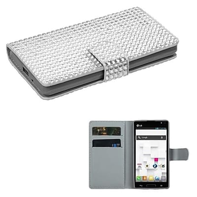 Insten® Book-Style MyJacket Wallet For LG P769, Silver Diamonds