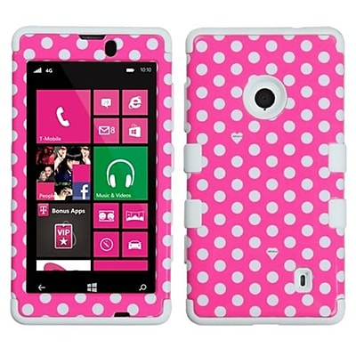 Insten® TUFF Hybrid Phone Protector Case For Nokia Lumia 521, Pink/White Dots