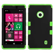 Insten® Rubberized TUFF Hybrid Phone Protector Case For Nokia Lumia 521, Black/Electric Green