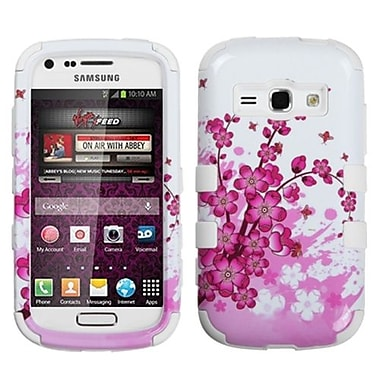 Insten® TUFF Hybrid Phone Protector Case For Samsung M840, Spring Flowers/Solid White
