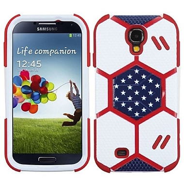 Insten® Hybrid Protector Case With Sapphire Blue Stand For Samsung Galaxy S4, White/Red Goalkeeper