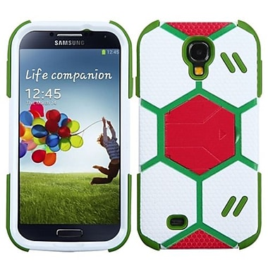 Insten® Hybrid Protector Case With Red Stand For Samsung Galaxy S4, White/Grass Green Goalkeeper