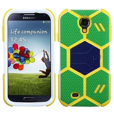 Insten® Hybrid Protector Case With Dark Blue Stand For Samsung Galaxy S4; Green/Beige Goalkeeper