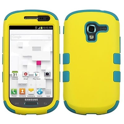 Insten® TUFF Hybrid Phone Protector Case For Samsung T599 Galaxy Exhibit, Yellow/Tropical Teal