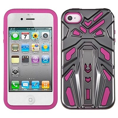 Insten® Zenobots Hybrid Protector Cover F/iPhone 4/4S, Iron Grey Plating/Hot-Pink