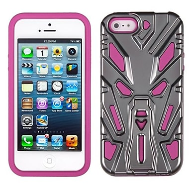 Insten® Zenobots Hybrid Protector Cover F/iPhone 5/5S, Iron Grey Plating/Hot-Pink