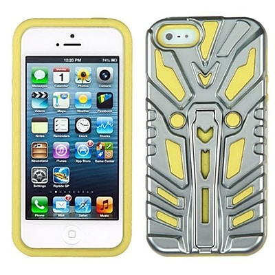 Insten® Zenobots Hybrid Protector Cover F/iPhone 5/5S; Silver Plating/Yellow