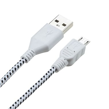 Insten® 6' Woven Pattern Data Cable, White