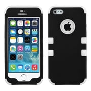 Insten® TUFF Hybrid Rubberized Phone Protector Cover F/iPhone 5/5S, Black/Solid White