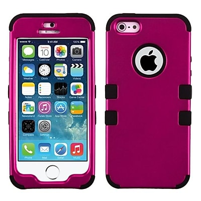 Insten® TUFF Hybrid Phone Protector Cover F/iPhone 5/5S; Titanium Solid Hot-Pink/Black
