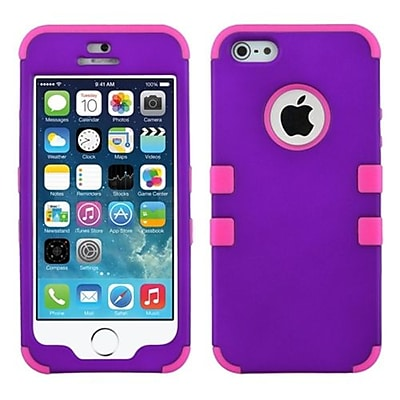 Insten® TUFF Hybrid Rubberized Phone Protector Cover F/iPhone 5/5S, Grape/Electric Pink