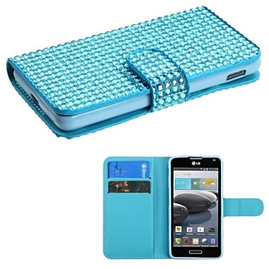 Insten® Book-Style MyJacket Wallet For LG D500/MS500, Light Blue Diamonds