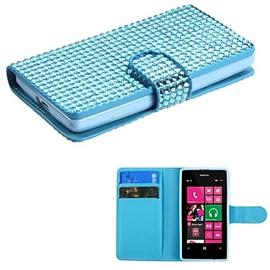 Insten® Diamonds Book-Style MyJacket Wallet With Card Slot For Nokia 521, Light Blue