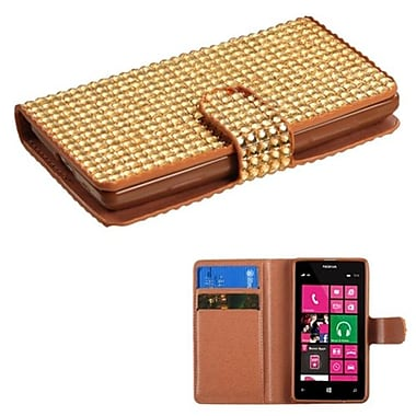 Insten® Diamonds Book-Style MyJacket Wallet With Card Slot For Nokia 521, Gold