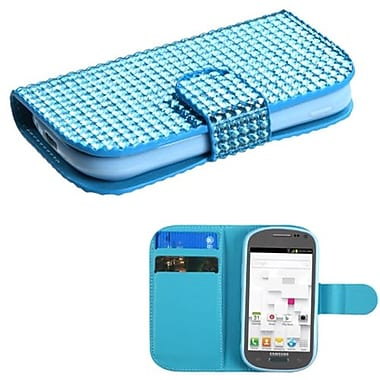 Insten® Diamonds Book-Style MyJacket Wallet W/Card Slot F/Samsung T599 Galaxy Exhibit, Light Blue