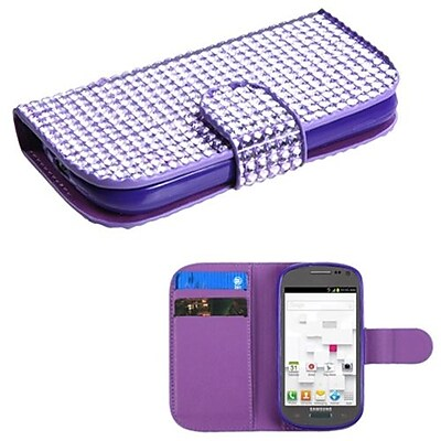 Insten® Diamonds Book-Style MyJacket Wallet W/Card Slot F/Samsung T599 Galaxy Exhibit, Purple