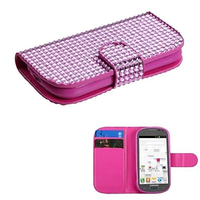 Insten® Diamonds Book-Style MyJacket Wallet W/Card Slot F/Samsung T599 Galaxy Exhibit; Pink