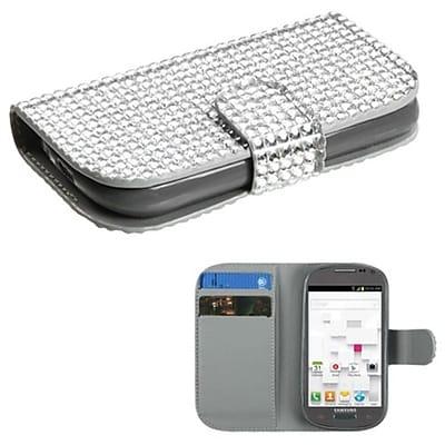 Insten® Diamonds Book-Style MyJacket Wallet W/Card Slot F/Samsung T599 Galaxy Exhibit, Silver