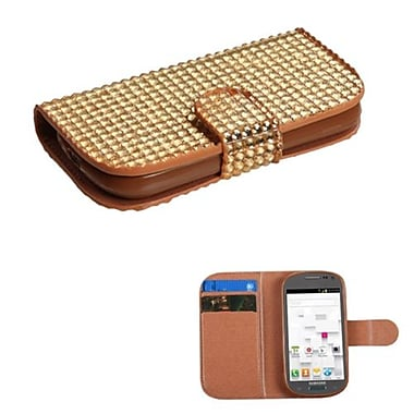 Insten® Diamonds Book-Style MyJacket Wallet W/Card Slot F/Samsung T599 Galaxy Exhibit, Gold