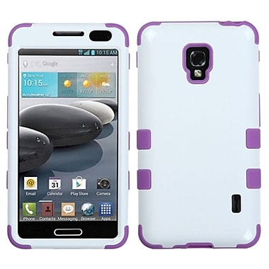 Insten® TUFF Hybrid Phone Protector Case For LG MS500/D500, Ivory White/Electric Purple