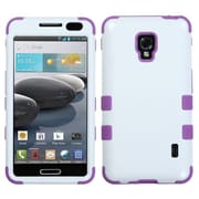 Insten® TUFF Hybrid Phone Protector Case For LG MS500/D500; Ivory White/Electric Purple