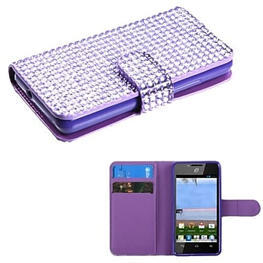 Insten® Diamonds Book-Style MyJacket Wallet For Huawei H881C/Y301, Purple