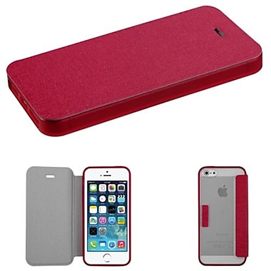 Insten® MyJacket Wallet Case W/T-Clear Gummy Case Tray F/iPhone 5/5S, Hot-Pink