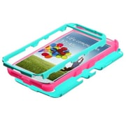Insten® Rubberized TUFF Hybrid Phone Protector Case For Samsung Galaxy S4, Teal Green/Electric Pink