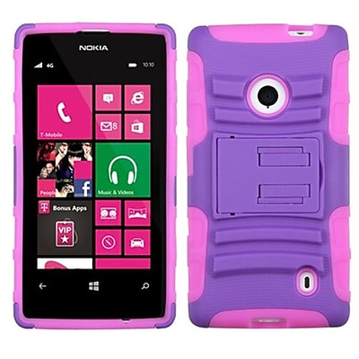 Insten® Advanced Armor Stand Protector Case For Nokia 521; Purple/Electric Pink