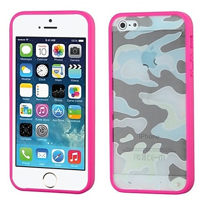 Insten® Glassy Gummy Cover F/iPhone 5/5S, Camo/Hot-Pink
